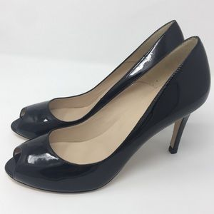 L K Bennett Black patent leather Olympia heel 41